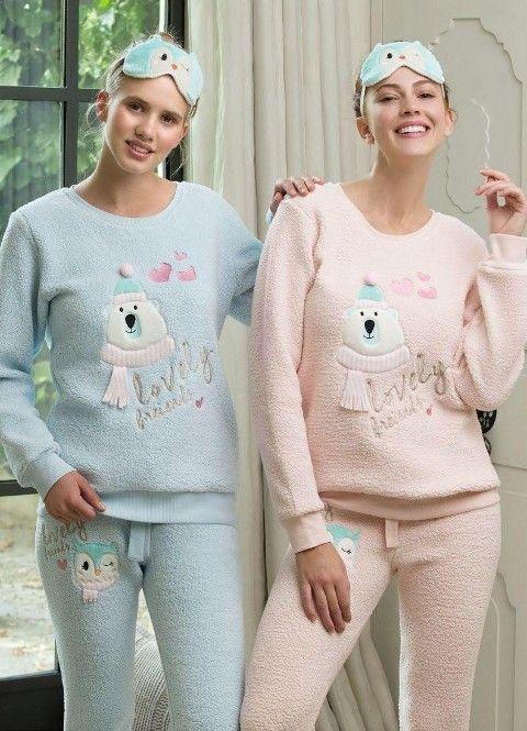 Bayan Pijama Takımı 2 Li (Uyku Gözlüğü Hediyeli) Feyza 3107