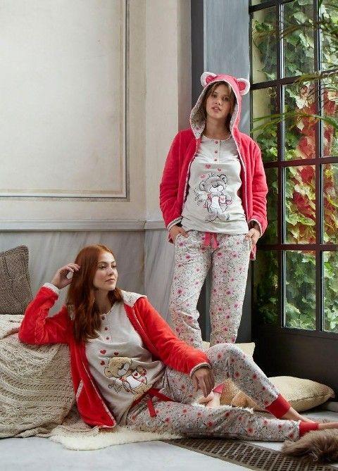 Bayan Pijama Takımı 3 Lü Ayıcıklı Feyza 3168
