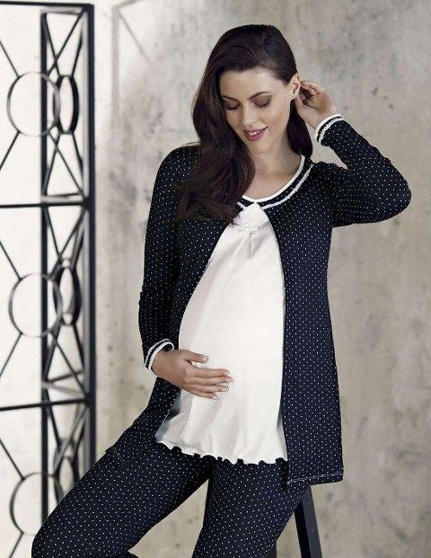 Bayan Pijama Takımı 3 Lü Lohusa Ceketli Puantiye Artış 2209
