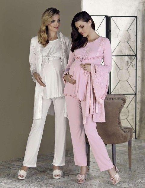 Bayan Pijama Takımı 3 Lü Lohusa Okyanus Desen Artış 2301