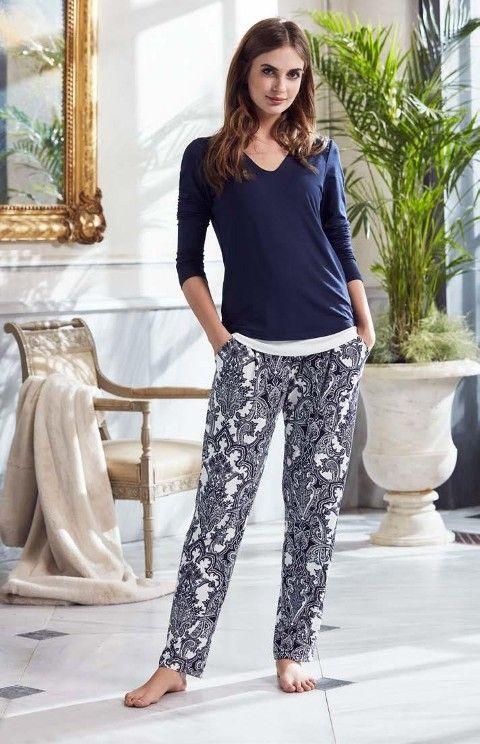 Bayan Pijama Takımı Desenli Penye Mood 8200