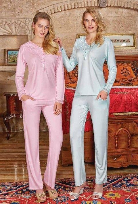 Bayan Pijama Takımı Uzun Kollu Berrak 388