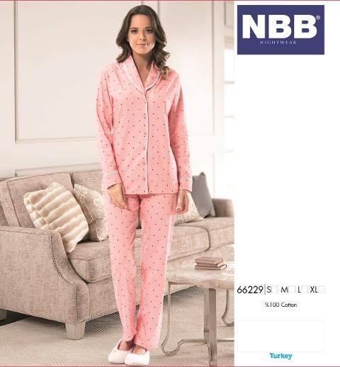 Bayan Şal Yaka Yıldız T-Shirt Pijama NBB 66229
