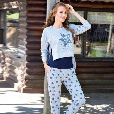 Bayan Sweatshirt T-Shirt Pijama Takım Anıl 9495