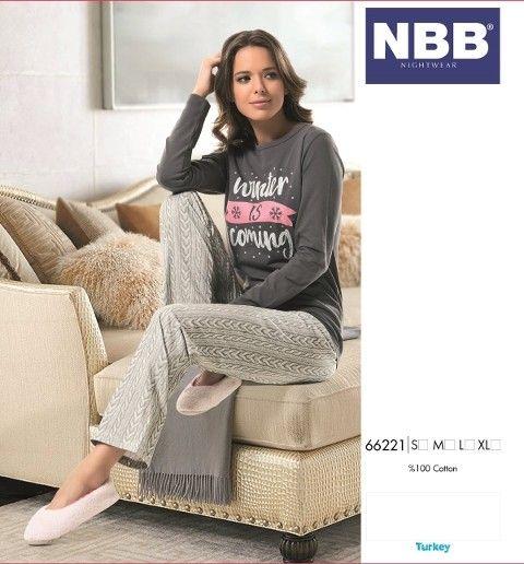 Bayan Uzun Kol Saç Örgü T-Shirt Pijama NBB 66221
