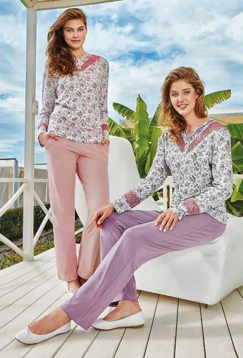 Bayan Uzun Kollu Pijama Takım Berrak 272