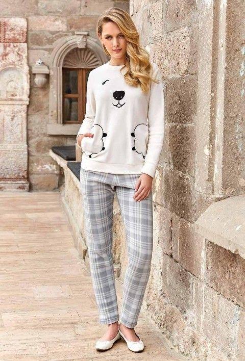 Bayan Uzun Kollu Pijama Takımı Berrak 401