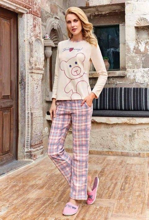 Bayan Uzun Kollu Pijama Takımı Polar Berrak 400