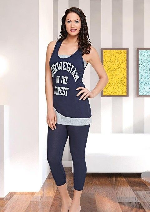 Tayt Pijama Takımları Bayan Uzun Tayt İnce Askılı Pijama Takımı Dünya Yıldızı 5502