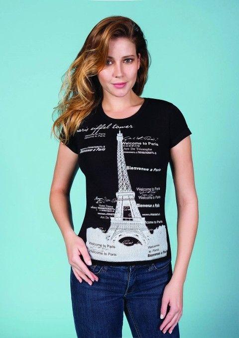 Berrak Bayan Kule Baskılı Tshirt 8006