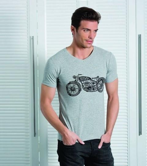 Berrak Erkek Motosiklet Baskılı Tshirt 1049