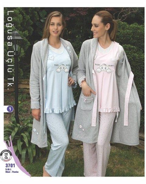 Bone Club 3701 Lohusa Üçlü Pijama Takım