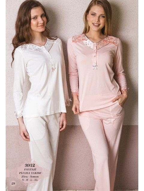 Bone Club 3912 Omuzu Dantel Pijama Takım