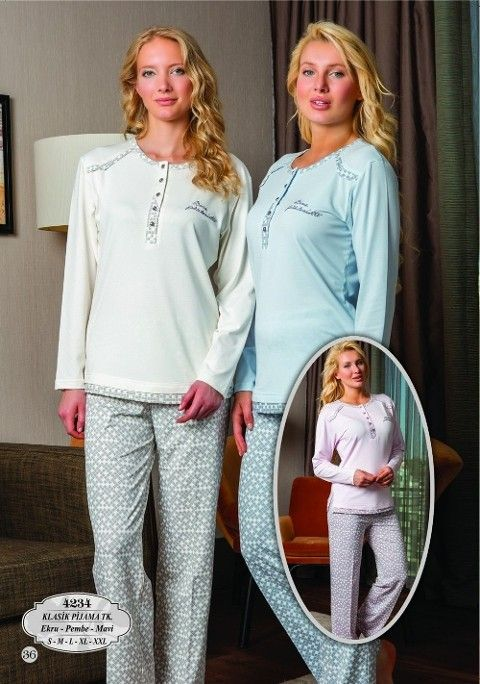 Bone Club 4234 Likra Kareli Klasik Pijama Takımı