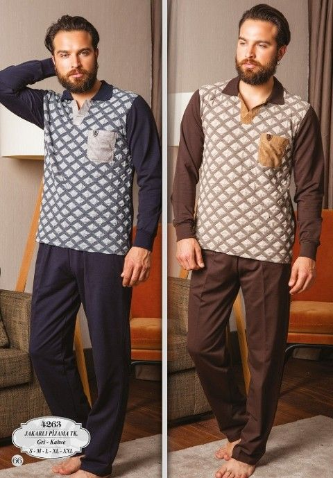 Bone Club 4263 Verev Ekose Jakarl Yakalı Erkek Pijama Takımı