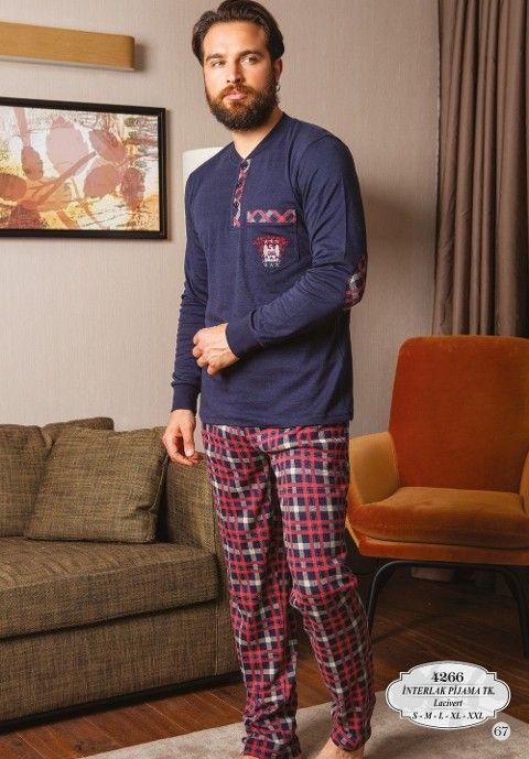 Bone Club 4266 Ekose Ribana Yaka Erkek Pijama Takımı