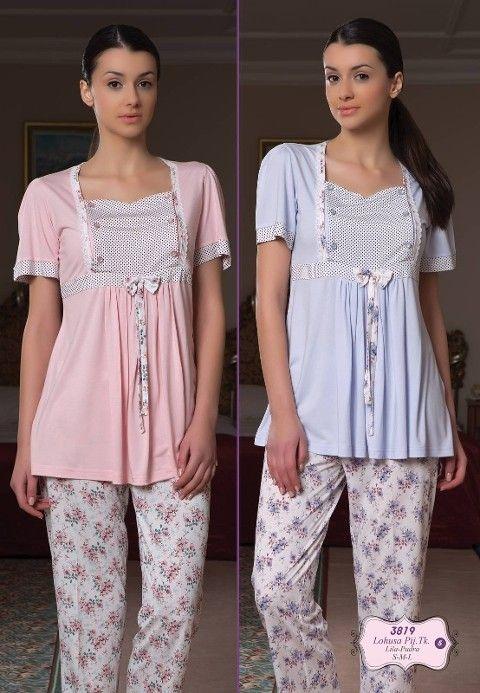 Bone Club Çiçekli Lohusa Pijama Takım 3819