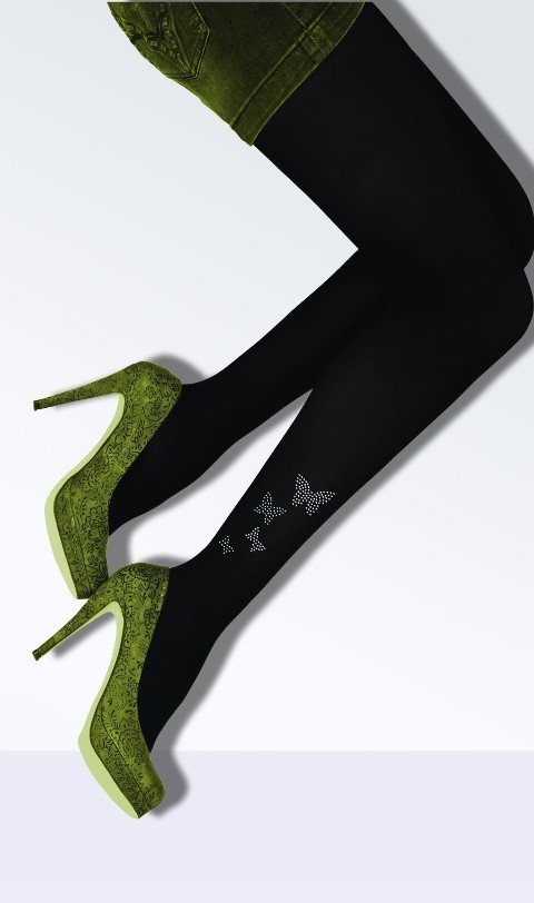 Daymod Butterfly Micro Fibre Taşlı Desenli Külotlu Çorap