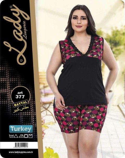 Büyük Beden Bayan Pijama Şortlu Lady 377