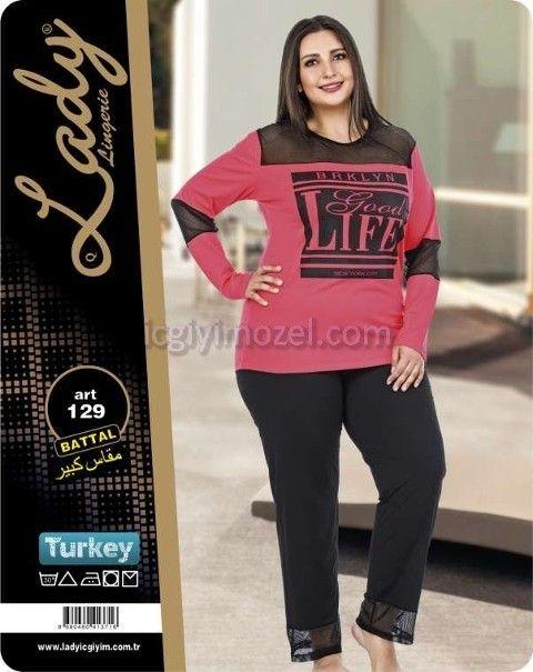 Büyük Beden Kadın Pijama Takım Lady 129