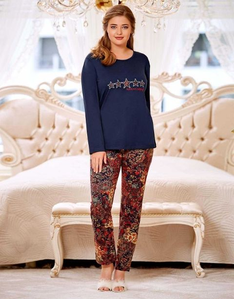 Büyük Beden Bayan Pijama Takım Dowry B09-03