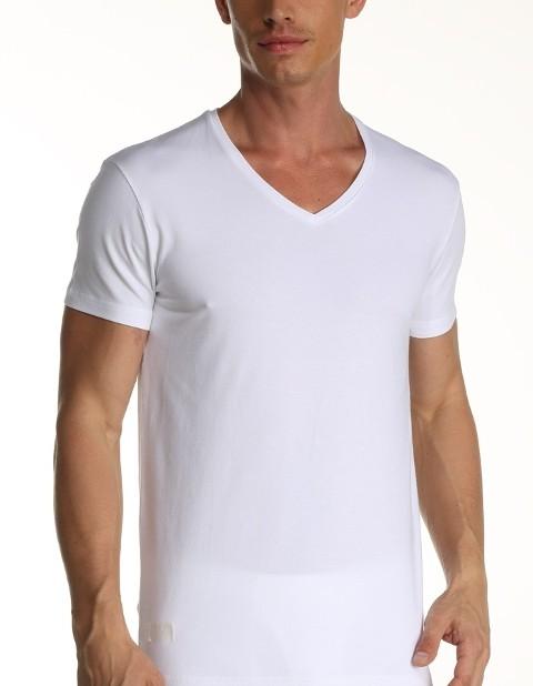 Çift Kaplan Elastanlı V Yaka T-Shirt 956