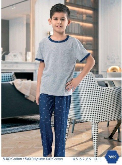 Çocuk Balıkçı Desenli Uzun Pijama NBB 7852