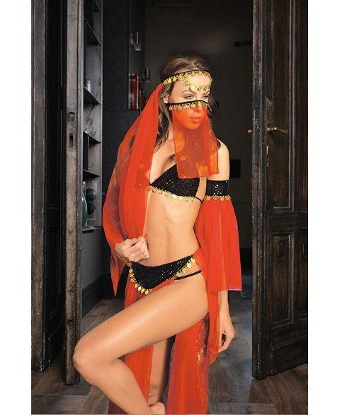 Dansöz Kostümleri Elawin Kırmızı Tüllü Dansöz Kostümü 8060