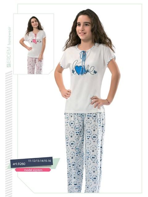 Erdem 9260 Kız Çocuk Pijama Modal Süprem