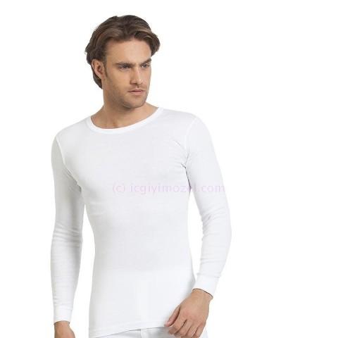 Erkek Beyaz Ribana Uzunkol Sıfır Yaka Öztaş A1020