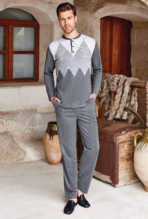 Erkek Pijama Takım Uzun Kollu Berrak 412