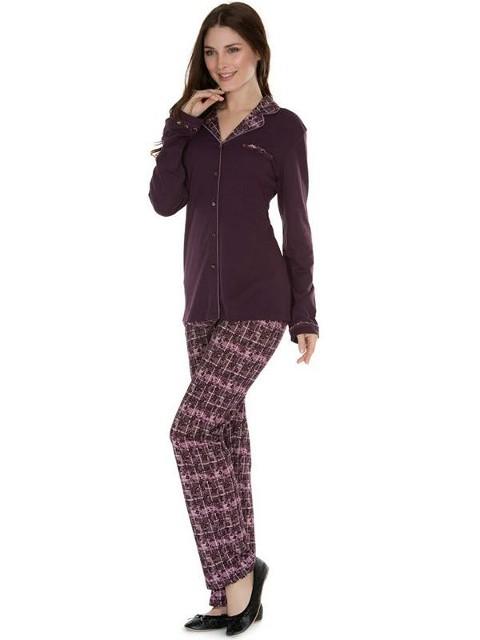 Eros Altı Ekoseli Gömlek Bayan Pijama Takımı