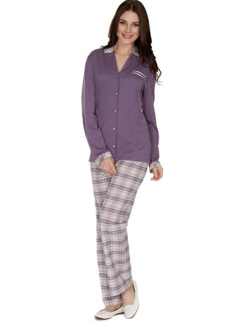 Eros Altı Flanel Gömlek Bayan Pijama Takımı