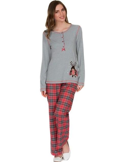 Eros O Patlı Altı Flanel Bayan Pijama Takımı