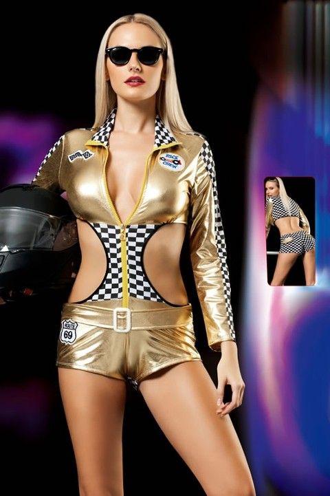 Erotica Lame Formula 1 Pit Kızı Kostümü
