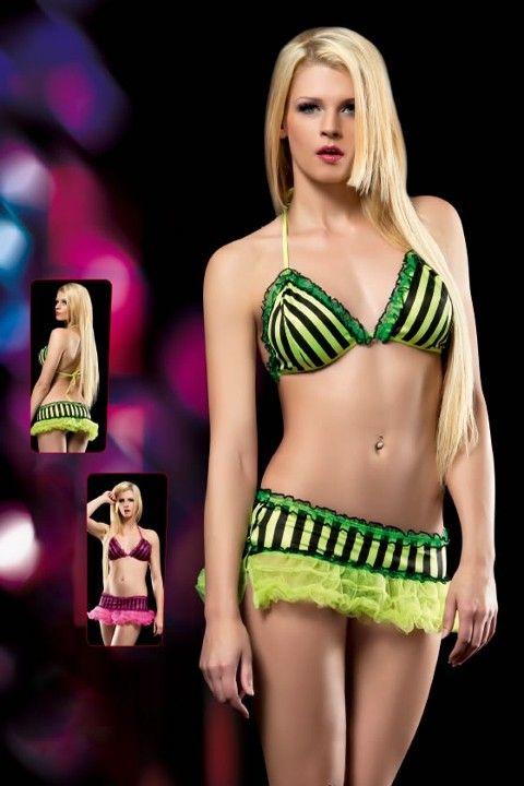 Erotica Neon Fantezi Sütyen Etek Takım