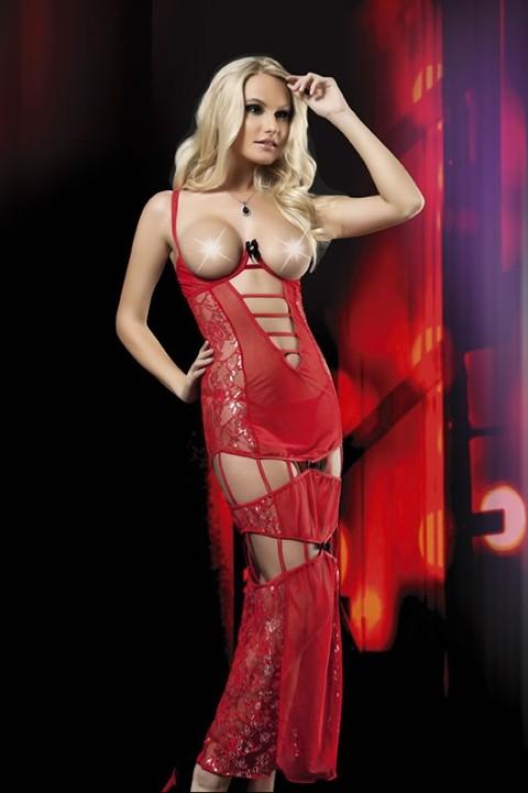 Erotica Simli Göğsü Açık Transparan Elbise