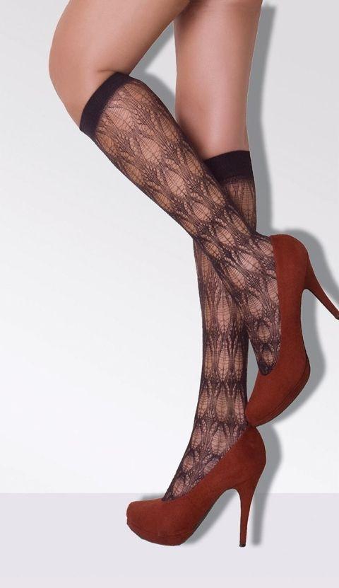 Daymod Flore Desenli Dizaltı File Çorap
