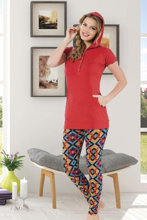 Tayt Pijama Takımları Geometrik Şekilli Bayan Taytlı Takım HMD 60074