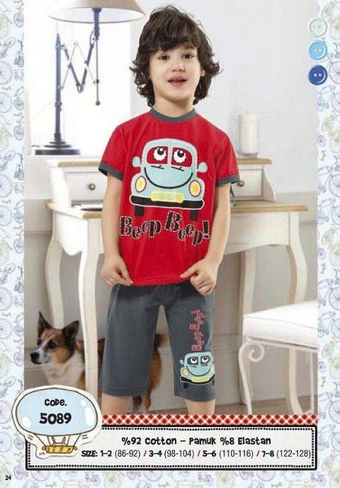 Hmd Erkek Çocuk Araba Baskılı Kapri Takımı 5089