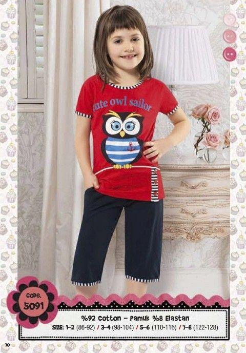 Hmd Kız Çocuk Baykuş Baskılı Kapri Takım 5091