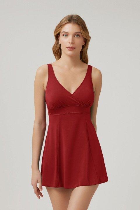 Kom Naora Elbise Mayo Koyu Kırmızı