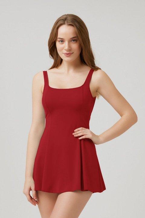 Etekli Mayo Kom Rota Elbise Mayo Kırmızı