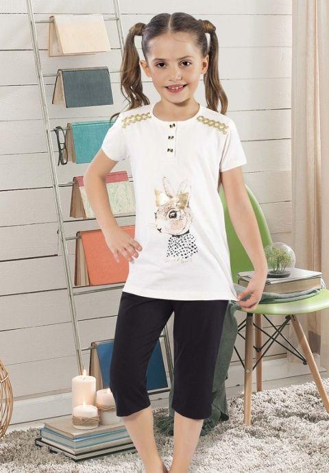 Kurdelalı Tavşan Kız Çocuk Pijama Takım HMD 6025