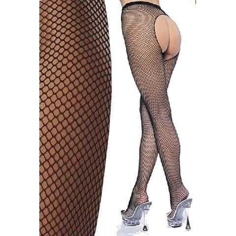 La Blinque Arkası Açık Siyah File Külotlu Çorap 903S