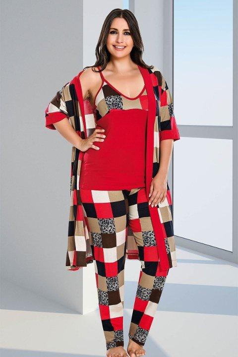 Lady Ekose Desenli 4 Lü Büyük Beden Pijama Takım 18170