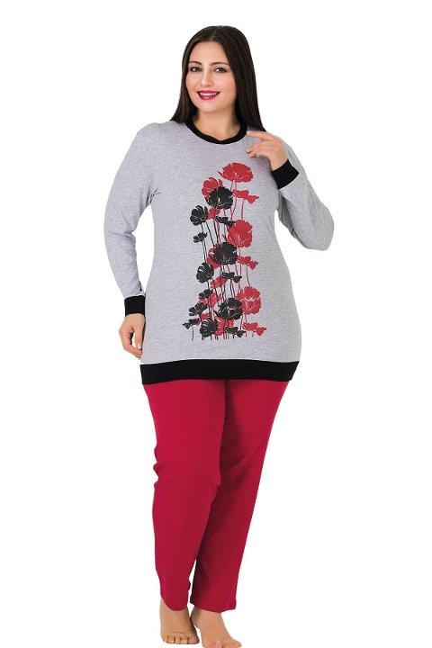 Lady Uzun Kollu Çiçek Desenli Büyük Beden Pijama Takımı 165
