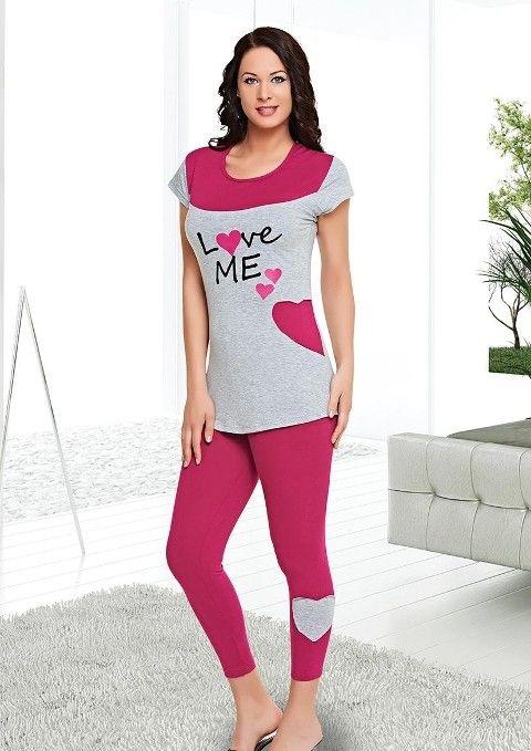 LOVE ME Uzun Tayt Pijama Takımı Dünya Yıldızı 5508
