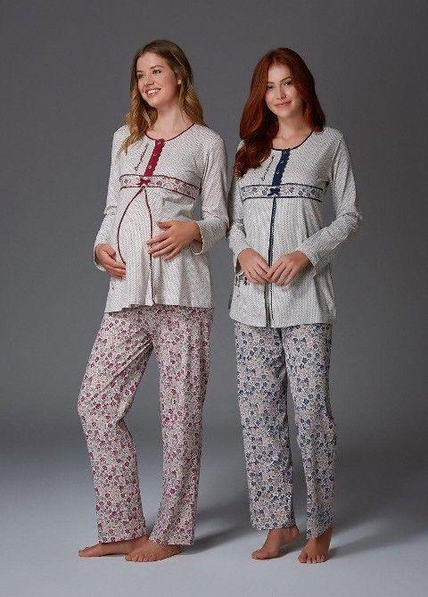Melanj İnterlok Lohusa Pijama Takım Bone Club 4424