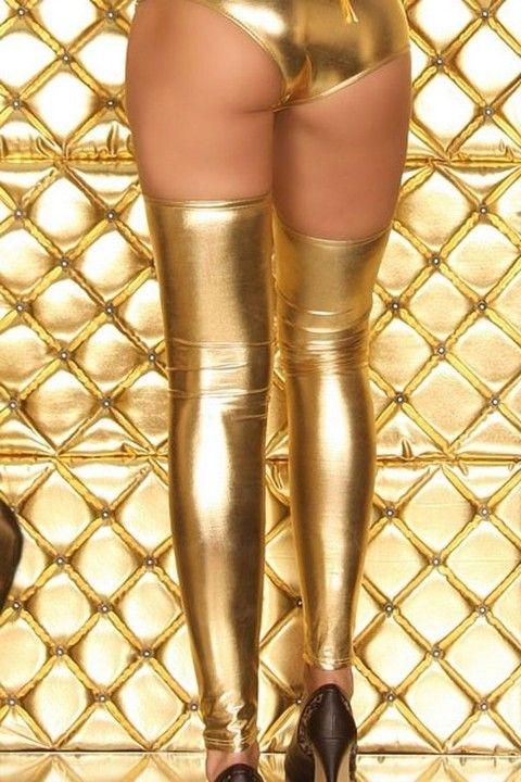 Fantazi Jartiyer Çorap Merry See Altın Rengi Parlak Çorap